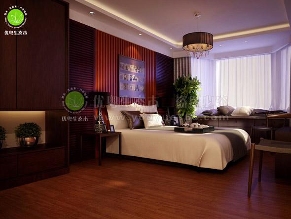 中式家居卧室墙板工程实景
