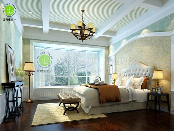 欧式简洁明亮卧室天花效果图应用-户外地板,生态地板